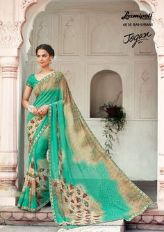 Buy Apparels- Light Blue and Cream Colour Net and Georgette Party Wear Saree Laxmipati Sarees, Georgette Sarees, Lehenga Choli, Indian Sarees, Indiana, Sari Shop, Wedding Saree Collection, Wedding Sari, Wedding Dresses