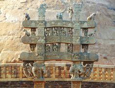 Uttari Toran, Northern Gate, Sanchi Stupa built by King Ashoka in century BC.