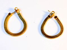 Monet Gold Chain Earrings    Gold Tone  Pierced Ears   2 1/2 Inch Open Length by GemstoneCowboy on Etsy
