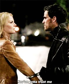Captain Hook and Emma Swan. I think she trusts him she almost married a flying monky Captain Swan, Captain Hook, Best Tv Shows, Best Shows Ever, Favorite Tv Shows, Bellarke, Malec, Once Upon A Time, Delena