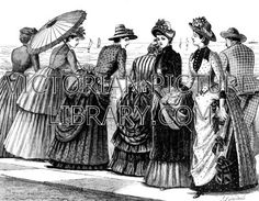 Seaside fashion. Victorian illustration of women by the sea wearing elaborate  dresses. The six women wear straw hats trimmed with flowers. Their jackets, and overskirts or bustles, are patterned with stripes or spots, and trimmed with frills or bows. Download high quality jpeg for just £5. Perfect for framing, logos, letterheads, and greetings cards.