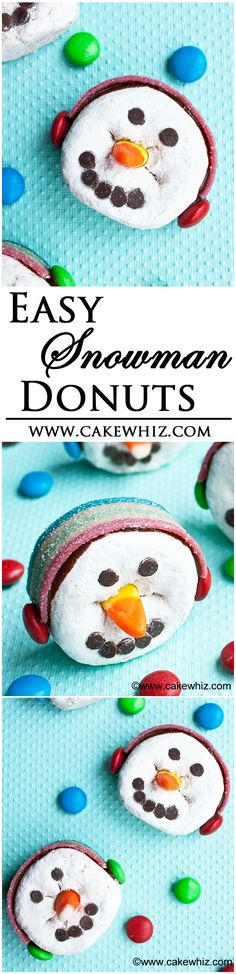 Easy SNOWMAN DONUTS, wearing ear muffs! Fun Winter craft to do with kids and you only need basic store-bought supplies! From cakewhiz.com