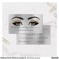 Makeup Artist Eyebrow Lashes Extension Metal Gold Business Card #BestEyeSerum Metal Business Cards, Gold Business Card, Glitter Eyebrows, Glitter Makeup, Glitter Lipstick, Gold Makeup, Eyebrow Makeup, Makeup Kit, Beauty Makeup
