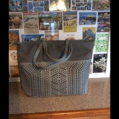Stella and Dot Hudson Tote Grey with eyelet pattern. Large size.  Never used, displayed only Stella & Dot Bags Totes