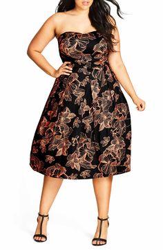 5c9f6df756 City Chic Floral Outline Fit   Flare Dress (Plus Size)