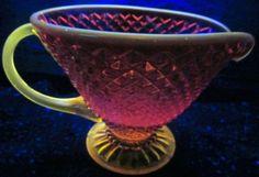 Fenton Glass Red Amberina Creamer Pitcher Hobnail Diamond Point Applied C Handle