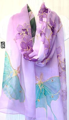Hand Painted Silk Shawl Scarf Purple Silk by SilkScarvesTakuyo