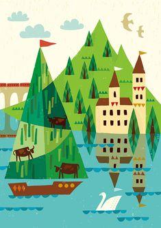 時は湖畔を流れ_suzuki tomoko Japanese Typography, Retro Illustration, Fairy, Pastel, Scene, Gallery, Simple, Artist, Painting