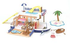 Set sail for an exciting seaside adventure! Over 50 pieces including boat critter pools waterslides island furniture food drinks and more! Boat expands to 20' for more space to play! Boat measu...