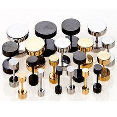 Round Stainless Steel Screw Men's Earring Body Piercing Ear Studs For Xmas Gift