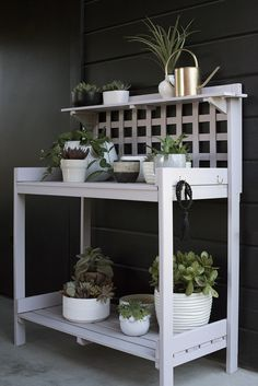 Pergola Attached To House Roof Info: 5361087085 Outdoor Potting Bench, Potting Bench Plans, Potting Tables, Outdoor Plant Table, Garden Table, Muebles Home, House Plants For Sale, Diy Plant Stand, Plant Stands