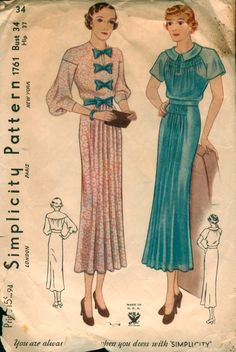 Simplicity 1761 Dress with back yoke and bodice shirring or bows 1930's
