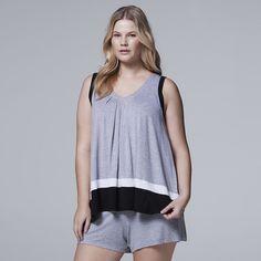 Women's Simply Vera Vera Wang Pajamas: Whisper Garden Tank Top & Boxer Shorts PJ Set, Med Grey