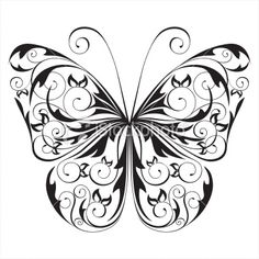 butterfly black and white - Google Search