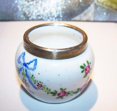 Vintage Hand Painted Salt Cellar Hallmarked Pink Roses Blue Bows by ATokenOfLove on Etsy https://www.etsy.com/listing/112082665/vintage-hand-painted-salt-cellar