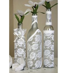 ONE Decorated Wine Bottle Centerpiece White Lace. Wine Bottle Decor. Wedding Table Centerpieces. Centerpiece Ideas. White Lace Wedding Decor