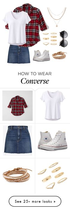 """Casually Chic Denim"" by outfitmaker362 on Polyvore featuring Yves Saint Laurent, Abercrombie & Fitch, prAna, Converse, Luv Aj, Forever 21, Chan Luu and denimskirts"