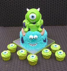 Monsters Inc. 1st Birthdays, First Birthday Parties, 4th Birthday, Birthday Ideas, Birthday Cake, Monsters Inc Cupcakes, Monster Cupcakes, Monster Inc Birthday, Monster Party