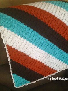 By Jenni Designs: Free Crochet Pattern: Simple Picot Corner to Corner Blanket Edge