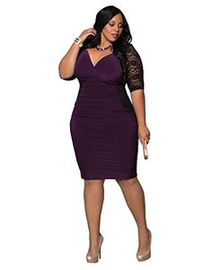 3c6fb09e91825 Kiyonna Women s Plus Size Valentina Illusion Dress 0X Black Purple Passion Kiyonna  Clothing http