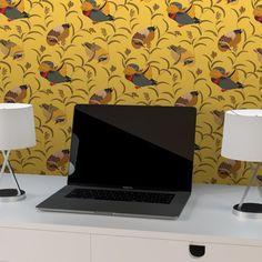 """Tapete """"Im Schlossteich"""" mit Enten im Schilf in gelb angepasst an Schöner Wohnen Wandfarben"""