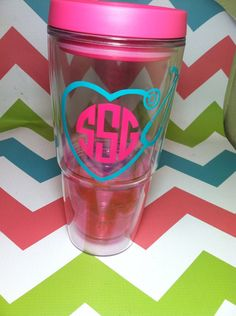 Nursing cup nurse monogram nurse nurse tumbler by StrongStitch