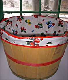 Fun fun fun .....these old apple basket covers were sold at five and dime stores for under a dollar.