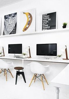 Creative black and white workspace-Easy and inexpensive way to create a big work desk area.