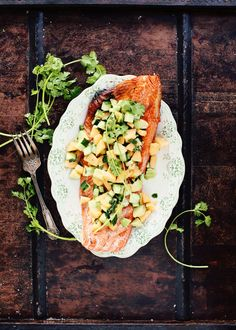 Grilled Salmon with Avocado-Melon-Cucumber Salsa. In this recipe for grilled salmon with avocado-melon-cucumber salsa, juicy, sweet melon and creamy avocado top perfect, flaky fish.