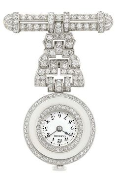 Platinum and Diamond Lapel-Watch, Cartier  Mechanical, topped by a pierced diamond-set bar, joined by three tiers of diamond-set panels of geometric design, suspending a circular polished platinum pendant-watch centering a circular sliver-tone dial with black Arabic numerals, encircled and edged by single-cut diamonds, diameter approximately 11 mm., dial signed Cartier, movement signed Avia Watch, case signed J Depollier & Son, no. 1066, circa 1920.