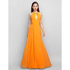 Formal Evening/Prom/Military Ball Dress A-line Halter Floor-length Chiffon Dress – USD $ 99.99