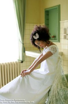Love the lace puffy sleeves and the butterfly hairclip!