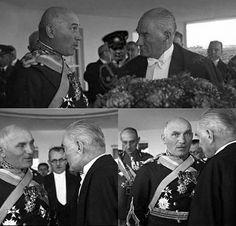 Cumhurbaşkanı Gazi Mustafa Kemal Atatürk Cumhuriyet Balosun'da Kendisini Şaşkın Gözlerle İzleyen,Romanya Genelkurmay Başkanı General Şikityu İle Beraber. 29 Ekim 1927 Syn.Sevil Savtekin'in Katkılarıyla.