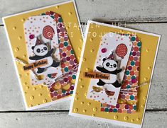 Love the Pandas! Win the Pandas! You will Party when you create such cute cards with these Pandas - whether you get them free with purchase - or win the set! Fun birthday cards created with Blends and Occasion Products. Bear Card, Panda Party, Stampinup, Stamping Up Cards, Animal Cards, Tampons, Card Sketches, Kids Cards, Cute Cards