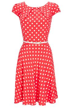 Red Spot Fit and Flare Dress