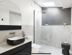 Black White Bathrooms, Bathroom Lighting, Toilet, Bathtub, Windows, Black And White, Mirror, Bathroom Designs, Bathroom Ideas