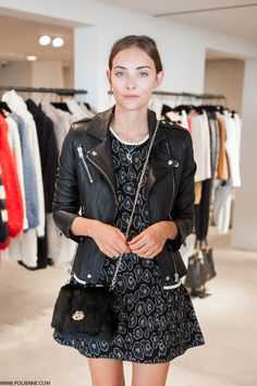 Dress and leather jacket