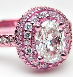 Pink & White Diamond Ring