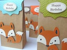 All items handmade by CynDetails: Fun Fox themed paper goodie bags Envelope Punch Board, Baby Boy 1st Birthday Party, Birthday Hats, Fox Party, Hunting Birthday, Animal Birthday, Goodie Bags, Favor Bags, Woodland Party