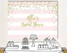 Bridal Shower Backdrop - Pink Stripes Or Any Color - Gold Confetti - Gold And Pink Dessert Table Banner Printed Or Printable File Bbr0009