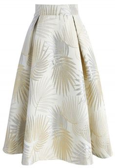 Golden Palm Jacquard Midi Skirt