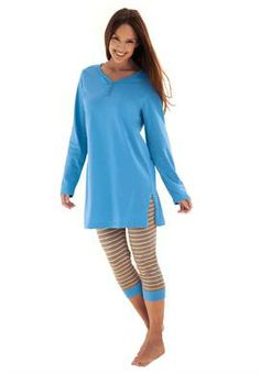 2-piece capri legging pj set by Dreams & Co.® | Plus Size Sleepwear & Robes | Jessica London