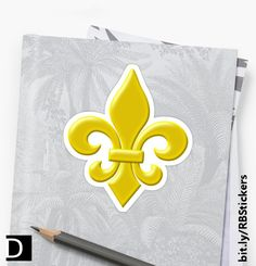 For that French Louisiana flair, this die-cut sticker features a golden yellow fleur-de-lis symbol. #StudioDalio New Orleans stationery