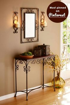 Varieties of Wrought Iron Doors for Your Properties - Decor And Home Entryway Decor, Wall Decor, Room Decor, Room Interior, Interior Design Living Room, Wrought Iron Decor, Wrought Iron Console Table, Iron Furniture, Console Furniture