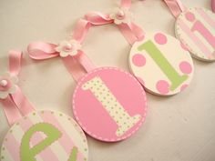 kids baby nursery hanging wall letters in pink and green!  Super cute!!