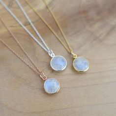 10mm Rainbow Moonstone Necklace, Rose Gold Moonstone Necklace, Silver Moonstone Necklace, Silver Gold Filled Chain, Moonstone Bezel Charm