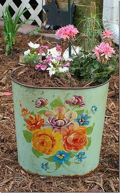 Using a Vintage wastebasket as a flower container- Red Stick Ranch: Inspiring Garden Creations
