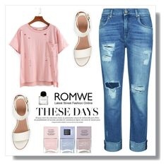 """Romwe"" by bellamonica ❤ liked on Polyvore featuring 7 For All Mankind, BEA and Nails Inc."