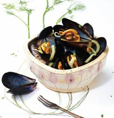 Mussels in Champagne Fennel Broth/Sweet Paul Fish Recipes, Seafood Recipes, Gourmet Recipes, Seafood Meals, Recipies, Seafood Dishes, Fish And Seafood, Raspberry Tarts, Cuisine Diverse