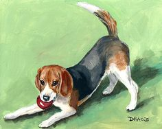 Beagle with Red Ball on Green - Dottie Dracos